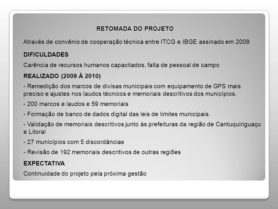 RETOMADA DO PROJETO RETOMADA DO PROJETO Através de convênio de cooperação técnica entre ITCG e IBGE assinado em 2009 DIFICULDADES Carência de recursos