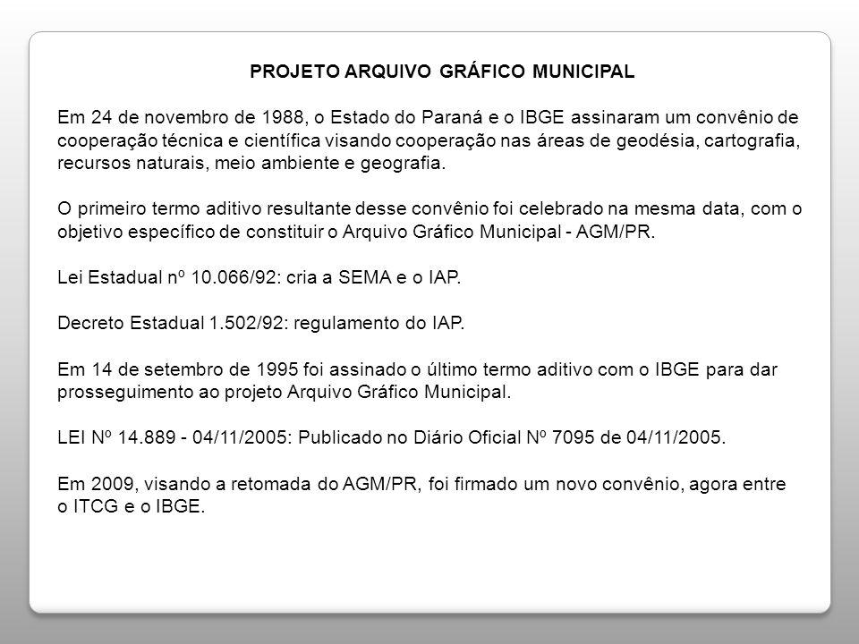 PROJETO ARQUIVO GRÁFICO MUNICIPAL PROJETO ARQUIVO GRÁFICO MUNICIPAL Em 24 de novembro de 1988, o Estado do Paraná e o IBGE assinaram um convênio de co