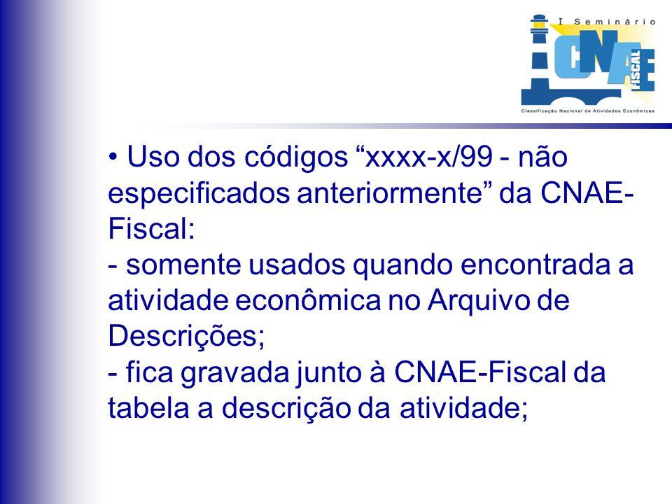 Uso dos códigos xxxx-x/99 - não especificados anteriormente da CNAE- Fiscal: - somente usados quando encontrada a atividade econômica no Arquivo de De