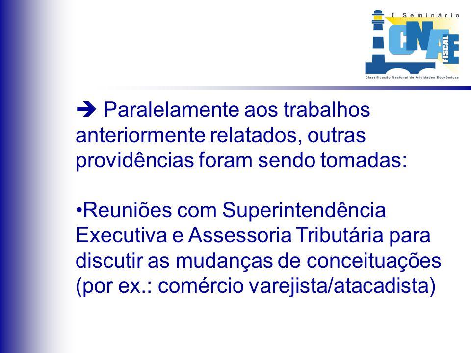 Paralelamente aos trabalhos anteriormente relatados, outras providências foram sendo tomadas: Reuniões com Superintendência Executiva e Assessoria Tri