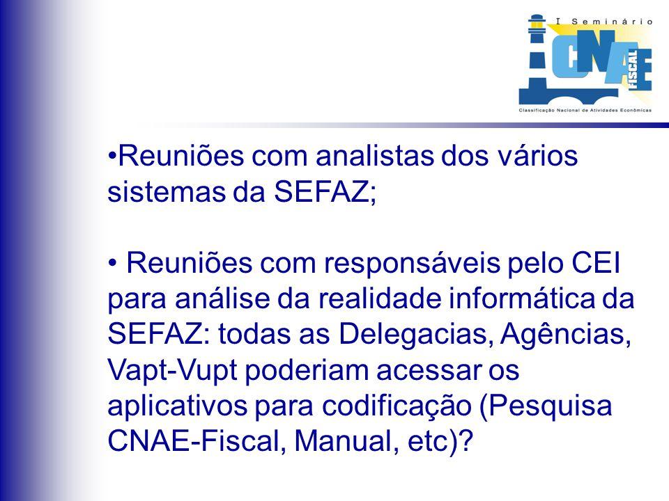 Reuniões com analistas dos vários sistemas da SEFAZ; Reuniões com responsáveis pelo CEI para análise da realidade informática da SEFAZ: todas as Deleg