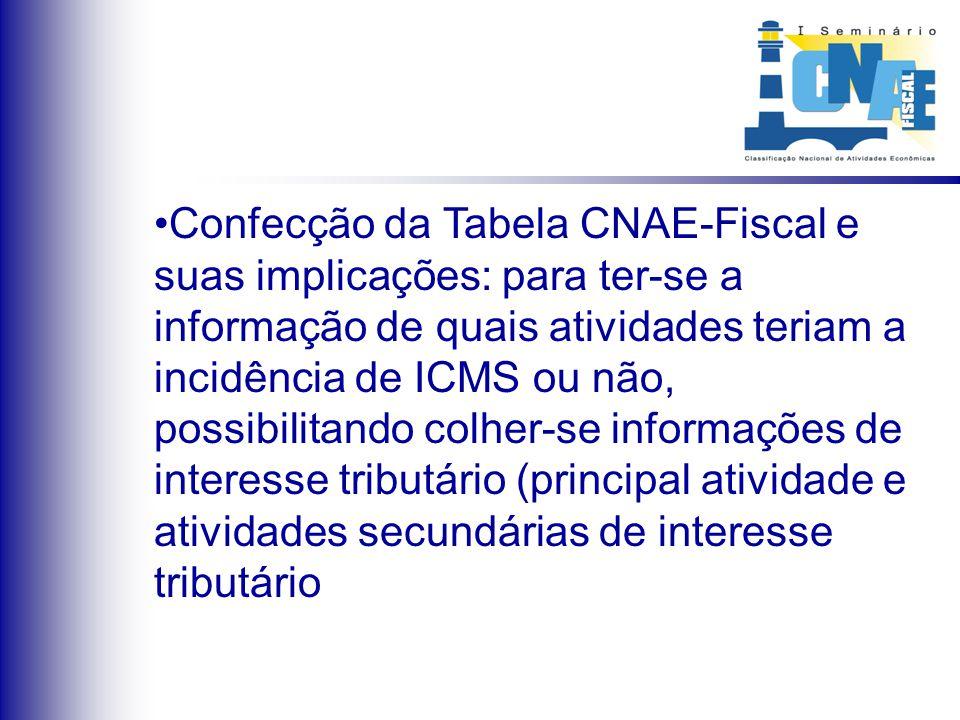 Confecção da Tabela CNAE-Fiscal e suas implicações: para ter-se a informação de quais atividades teriam a incidência de ICMS ou não, possibilitando co