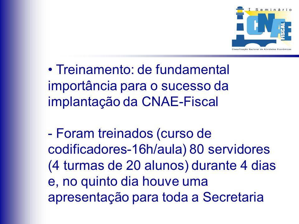 Treinamento: de fundamental importância para o sucesso da implantação da CNAE-Fiscal - Foram treinados (curso de codificadores-16h/aula) 80 servidores