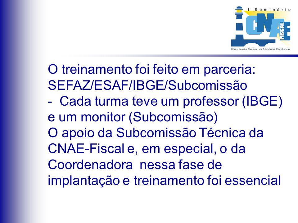 O treinamento foi feito em parceria: SEFAZ/ESAF/IBGE/Subcomissão - Cada turma teve um professor (IBGE) e um monitor (Subcomissão) O apoio da Subcomiss