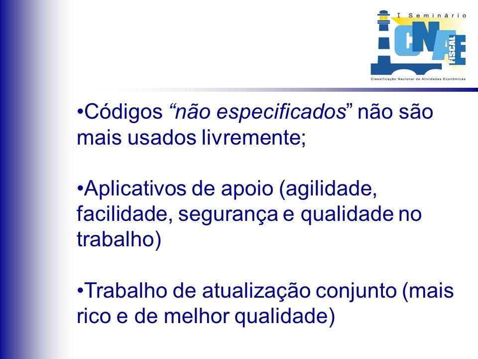 Códigos não especificados não são mais usados livremente; Aplicativos de apoio (agilidade, facilidade, segurança e qualidade no trabalho) Trabalho de