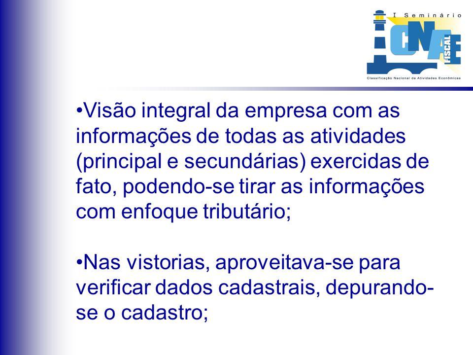 Visão integral da empresa com as informações de todas as atividades (principal e secundárias) exercidas de fato, podendo-se tirar as informações com e