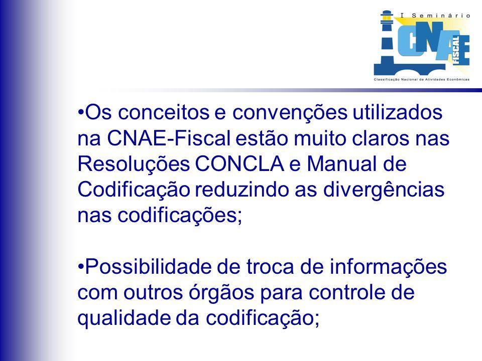 Os conceitos e convenções utilizados na CNAE-Fiscal estão muito claros nas Resoluções CONCLA e Manual de Codificação reduzindo as divergências nas cod