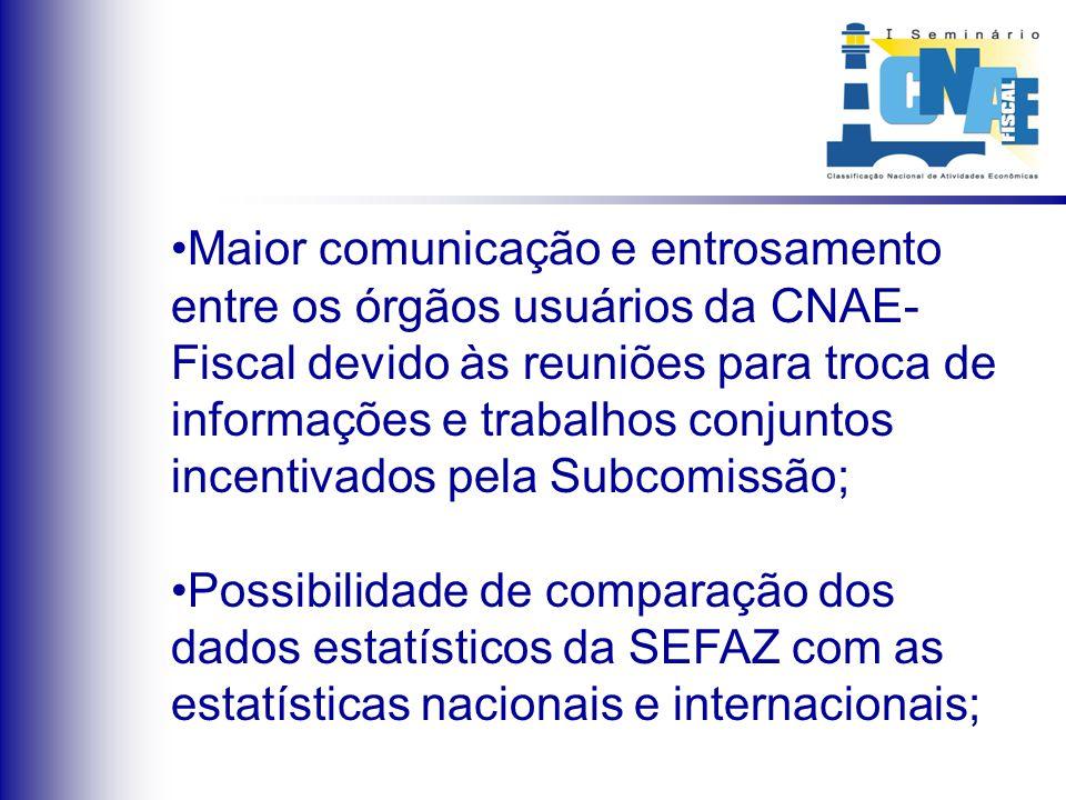 Maior comunicação e entrosamento entre os órgãos usuários da CNAE- Fiscal devido às reuniões para troca de informações e trabalhos conjuntos incentiva