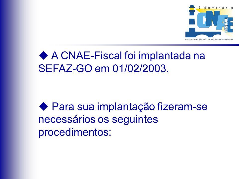 A CNAE-Fiscal foi implantada na SEFAZ-GO em 01/02/2003. Para sua implantação fizeram-se necessários os seguintes procedimentos: