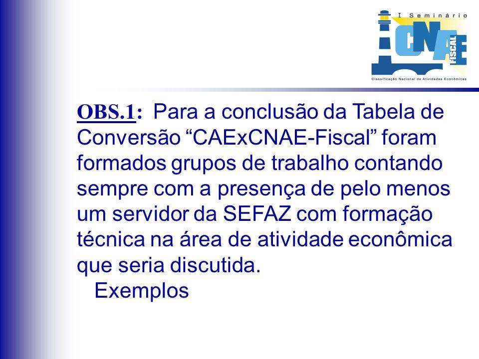 OBS.1: Para a conclusão da Tabela de Conversão CAExCNAE-Fiscal foram formados grupos de trabalho contando sempre com a presença de pelo menos um servi