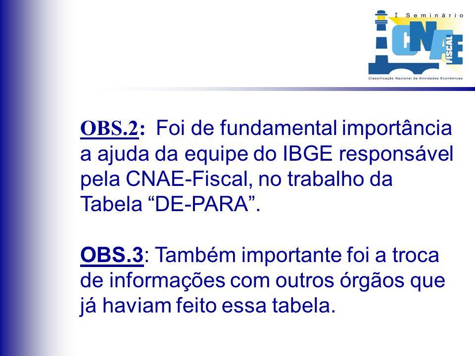 OBS.2: Foi de fundamental importância a ajuda da equipe do IBGE responsável pela CNAE-Fiscal, no trabalho da Tabela DE-PARA. OBS.3: Também importante