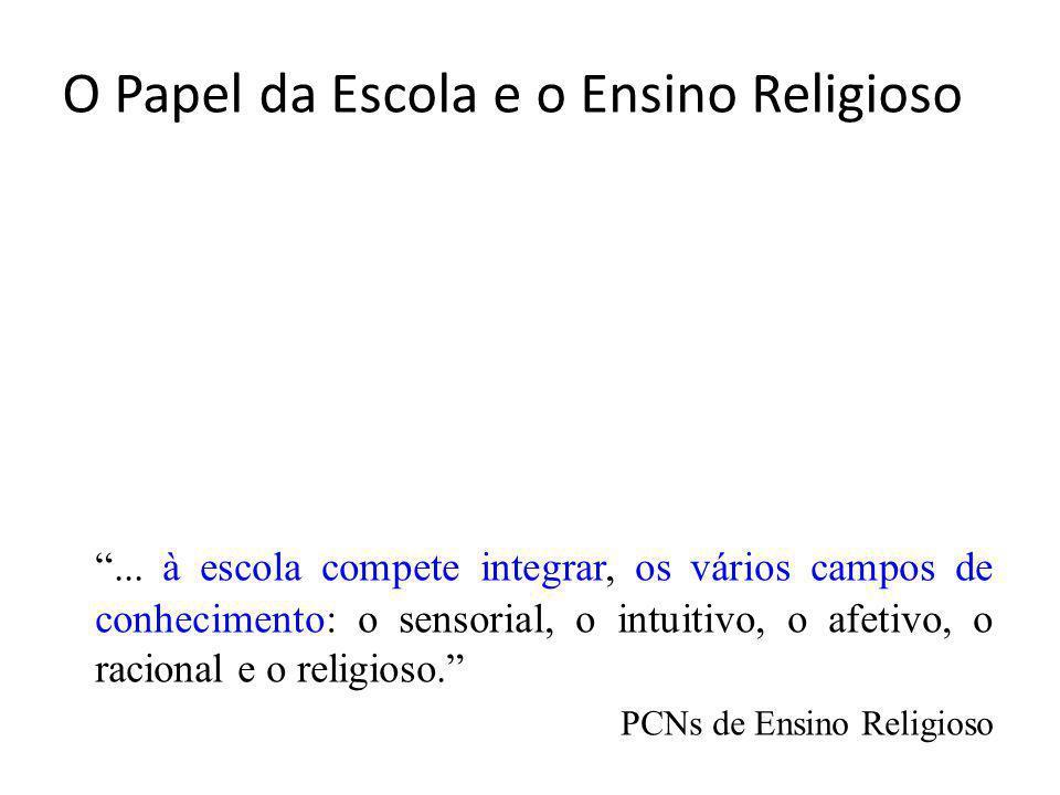 O Papel da Escola e o Ensino Religioso... à escola compete integrar, os vários campos de conhecimento: o sensorial, o intuitivo, o afetivo, o racional