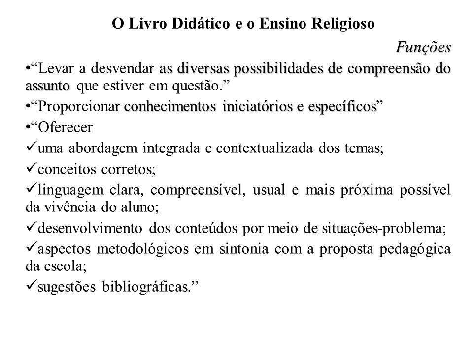 O Livro Didático e o Ensino Religioso Funções as diversas possibilidades de compreensão do assunto Levar a desvendar as diversas possibilidades de com