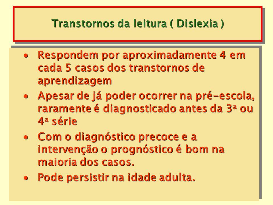 Transtornos da leitura ( Dislexia ) Caracteriza-se por distorções, substituições ou omissões, por lentidão e erros na compreensão, tanto a leitura em