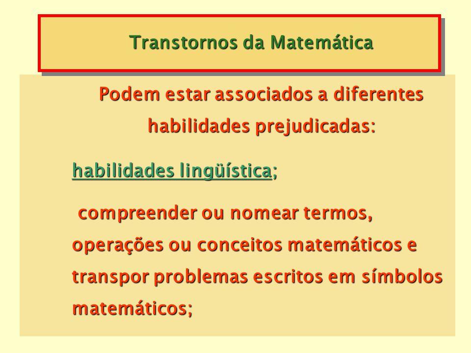 Transtornos da Matemática operações aritméticas acentuadamente abaixo da esperada para a idade cronológica, à inteligência e à escolaridade do indivíd
