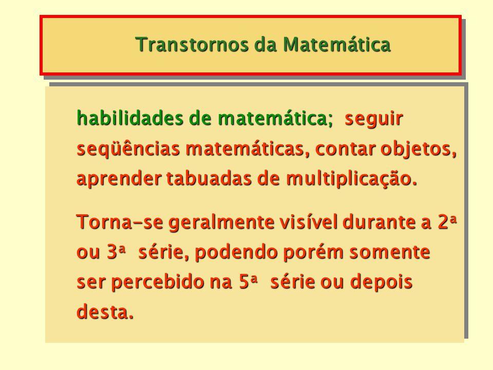 Discalculia -habilidades de atenção e memória; copiar corretamente números ou cifras, lembrar de somar números levados e observar sinais de operações;