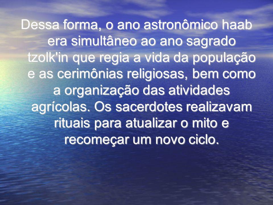 Dessa forma, o ano astronômico haab era simultâneo ao ano sagrado tzolk in que regia a vida da população e as cerimônias religiosas, bem como a organização das atividades agrícolas.