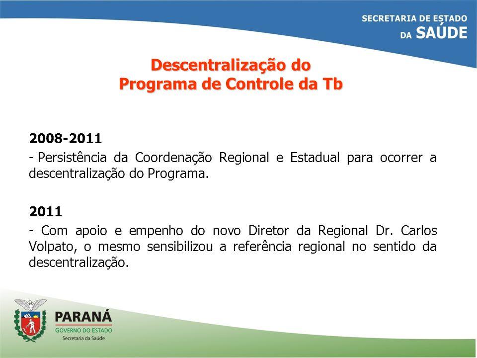 2008-2011 - Persistência da Coordenação Regional e Estadual para ocorrer a descentralização do Programa. 2011 - Com apoio e empenho do novo Diretor da