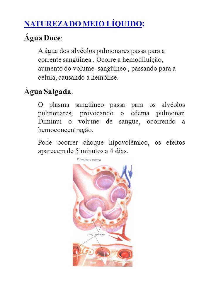 NATUREZA DO MEIO LÍQUIDO : Água Doce : A água dos alvéolos pulmonares passa para a corrente sangüínea. Ocorre a hemodiluição, aumento do volume sangüí