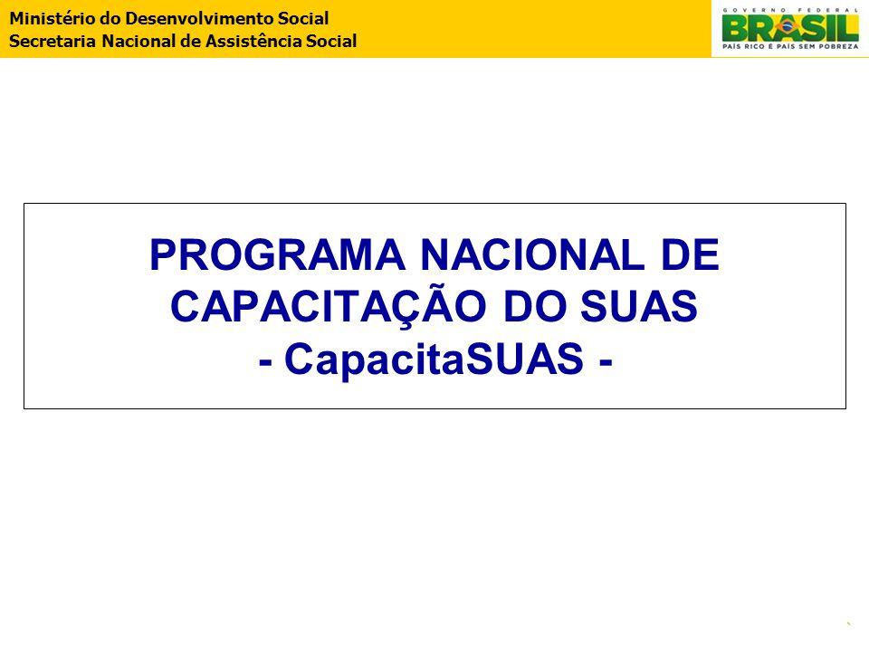 Ministério do Desenvolvimento Social Secretaria Nacional de Assistência Social. PROGRAMA NACIONAL DE CAPACITAÇÃO DO SUAS - CapacitaSUAS -