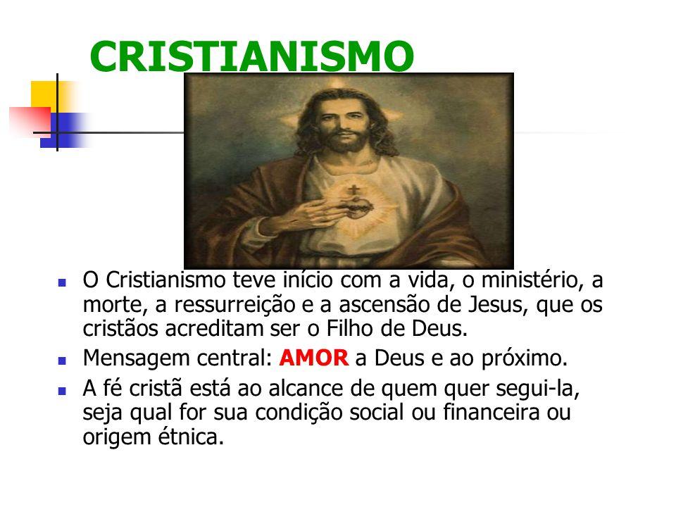 CRISTIANISMO O Cristianismo teve início com a vida, o ministério, a morte, a ressurreição e a ascensão de Jesus, que os cristãos acreditam ser o Filho de Deus.