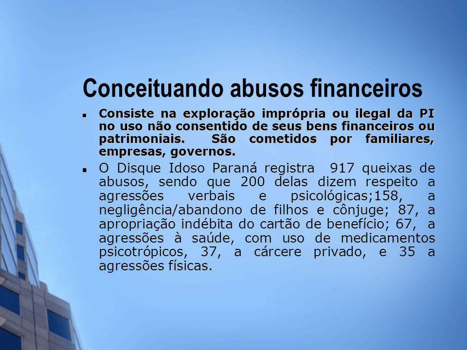 Conceituando abusos financeiros Consiste na exploração imprópria ou ilegal da PI no uso não consentido de seus bens financeiros ou patrimoniais. São c