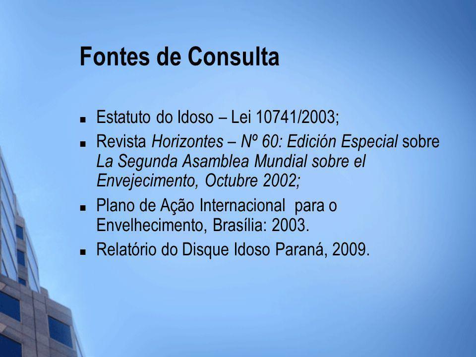 Fontes de Consulta Estatuto do Idoso – Lei 10741/2003; Revista Horizontes – Nº 60: Edición Especial sobre La Segunda Asamblea Mundial sobre el Envejec