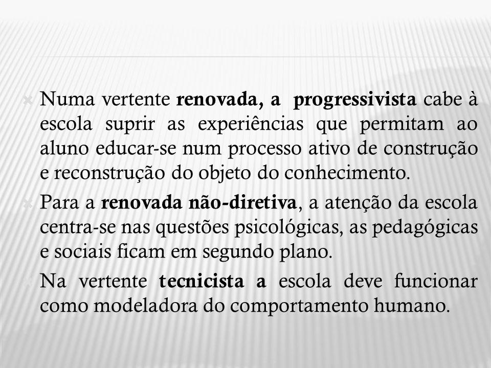 A partir da década de 80 há uma busca por teorias que não apenas se constituíssem como alternativas à pedagogia oficial, mas que a ela se contrapusessem.