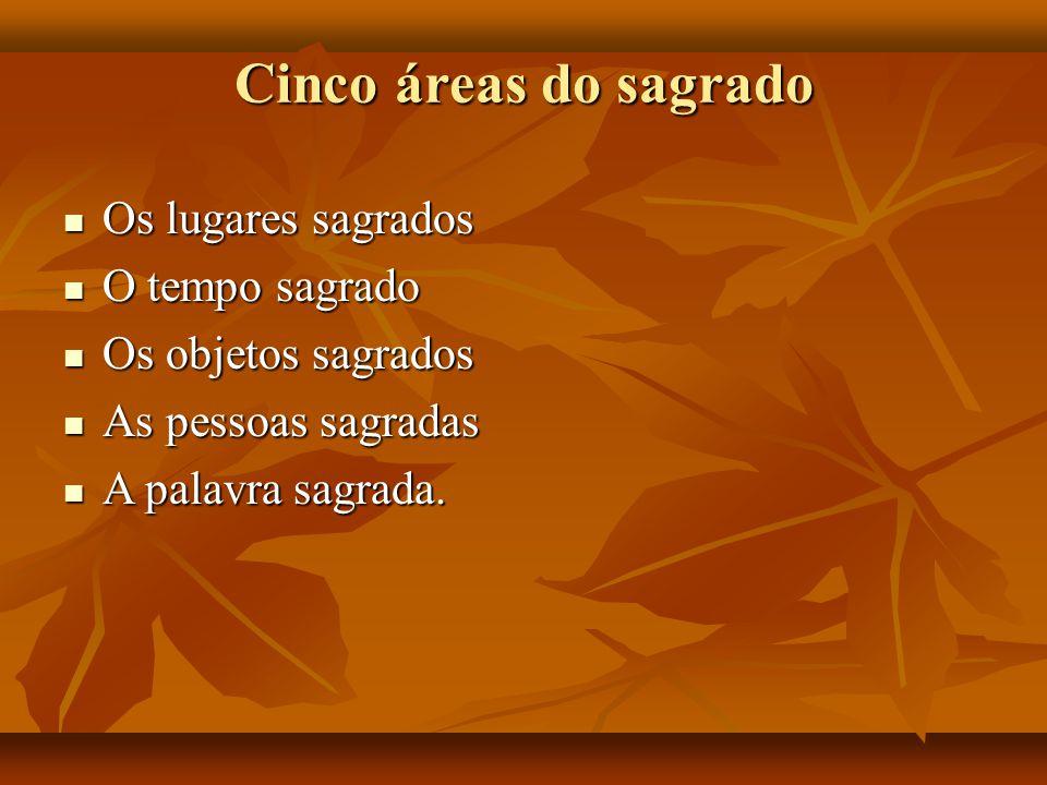 Cinco áreas do sagrado Os lugares sagrados Os lugares sagrados O tempo sagrado O tempo sagrado Os objetos sagrados Os objetos sagrados As pessoas sagr