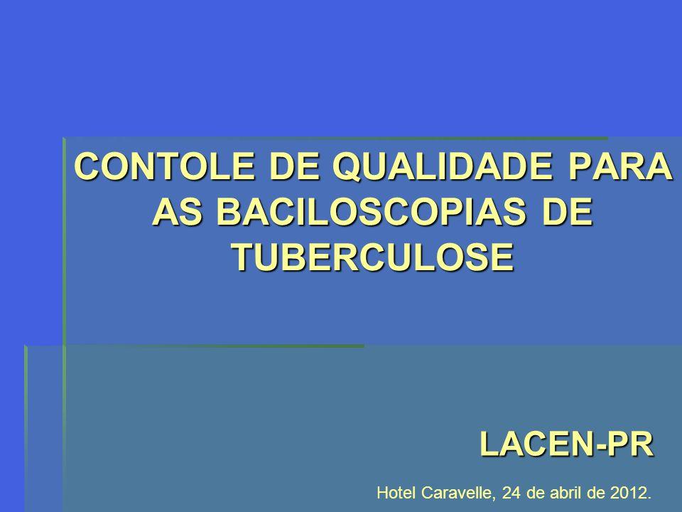 CONTOLE DE QUALIDADE PARA AS BACILOSCOPIAS DE TUBERCULOSE LACEN-PR Hotel Caravelle, 24 de abril de 2012.