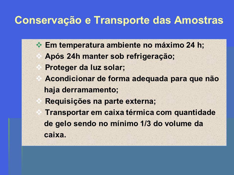 Conservação e Transporte das Amostras Em temperatura ambiente no máximo 24 h; Após 24h manter sob refrigeração; Proteger da luz solar; Acondicionar de