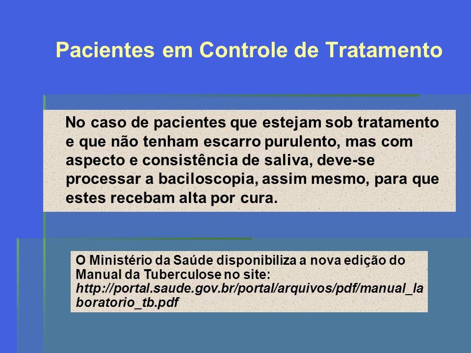 Pacientes em Controle de Tratamento No caso de pacientes que estejam sob tratamento e que não tenham escarro purulento, mas com aspecto e consistência