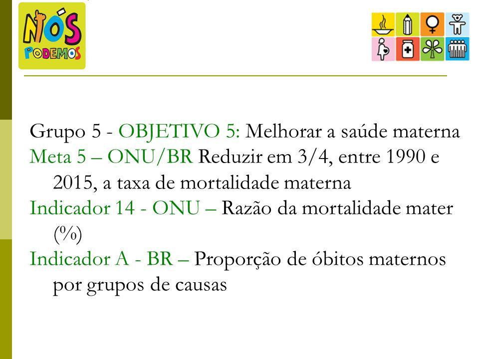 Grupo 5 - OBJETIVO 5: Melhorar a saúde materna Meta 5 – ONU/BR Reduzir em 3/4, entre 1990 e 2015, a taxa de mortalidade materna Indicador 14 - ONU – R