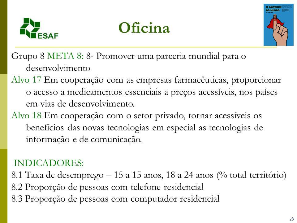 28 Oficina Grupo 8 META 8: 8- Promover uma parceria mundial para o desenvolvimento Alvo 17 Em cooperação com as empresas farmacêuticas, proporcionar o