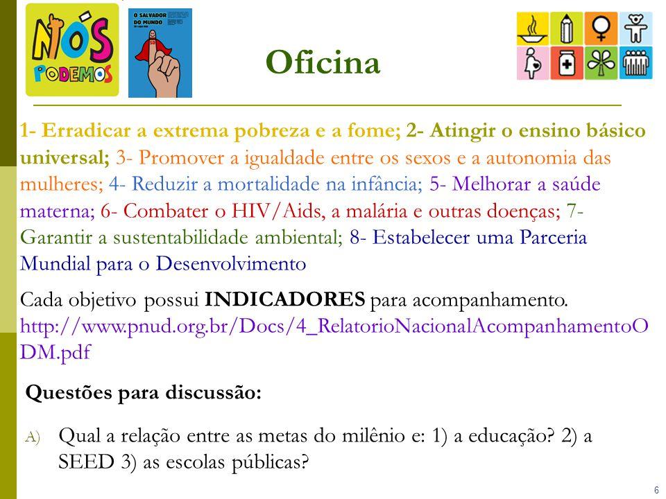 7 Oficina B) Cada grupo analisa um objetivo/indicadores – ex: Grupo 1 Objetivo 1/Meta 1 (ONU) e Meta 1A (Brasil)/ Indicador 1 e Indicador A: Grupo 1 - Objetivo 1: 1- Erradicar a extrema pobreza e a fome Meta 1-ONU: Reduzir pela metade, entre 1990 e 2015, a proporção da população com renda inferior a um dólar por dia Indicador 1 - Proporção da População abaixo da linha de pobreza absoluta nacional (= US$ 1,00/ dia) Brasil 1990= 25,6% 2008= 4,8% Meta 1A (BR): Reduzir a ¼...