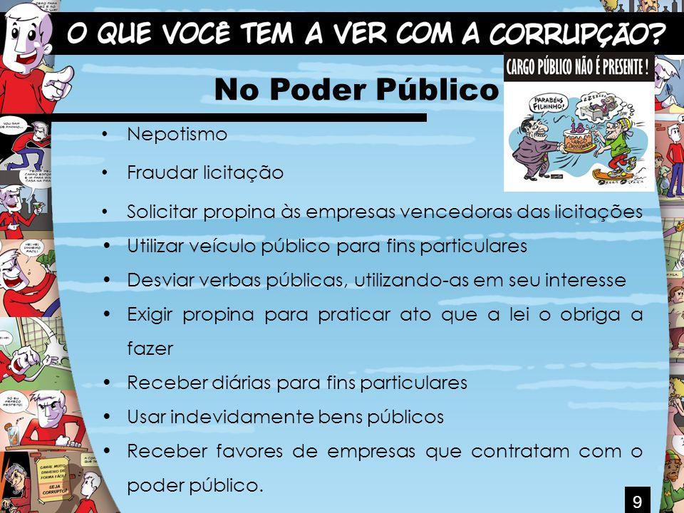 9 No Poder Público Nepotismo Fraudar licitação Solicitar propina às empresas vencedoras das licitações Utilizar veículo público para fins particulares