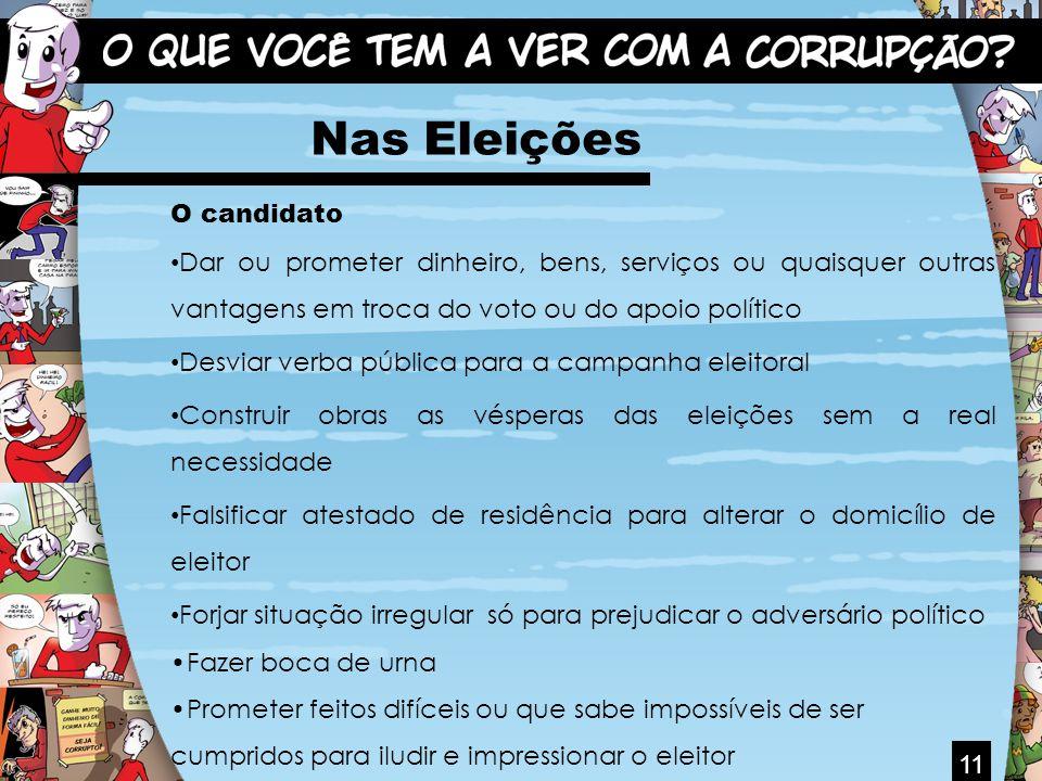 11 Nas Eleições O candidato Dar ou prometer dinheiro, bens, serviços ou quaisquer outras vantagens em troca do voto ou do apoio político Desviar verba