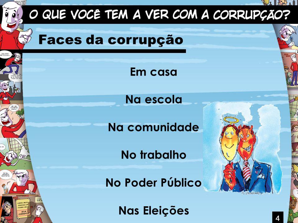 4 Faces da corrupção Em casa Na escola Na comunidade No trabalho No Poder Público Nas Eleições