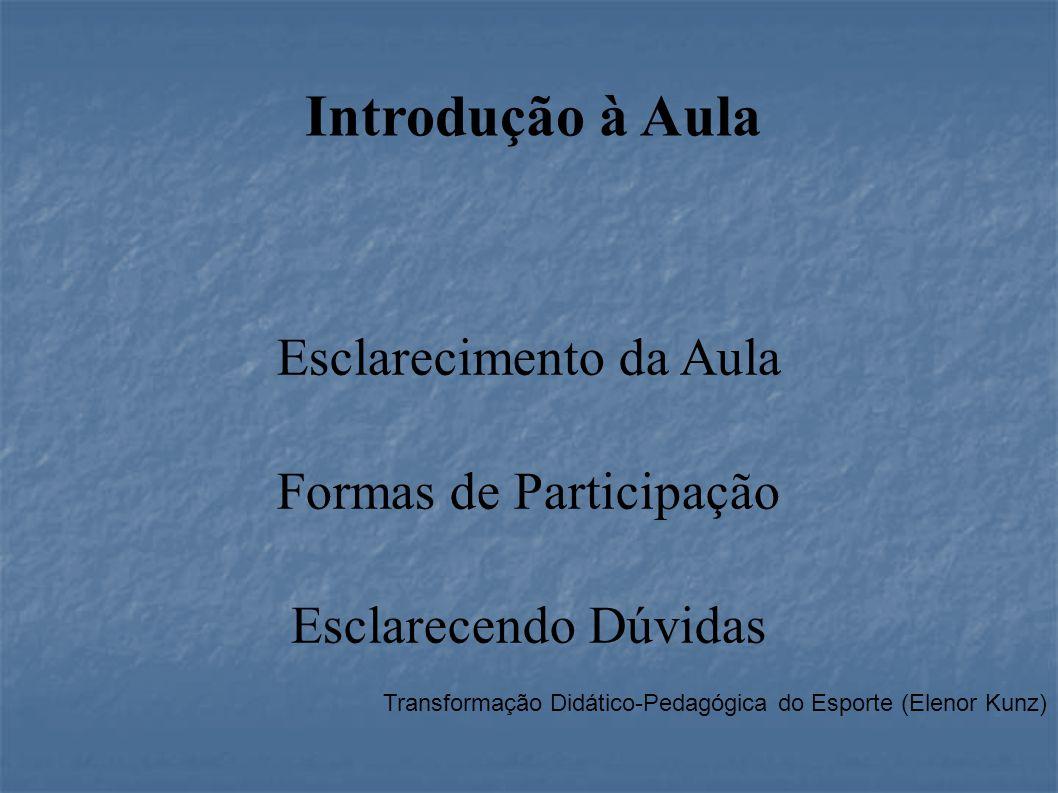 Transformação Didático-Pedagógica do Esporte (Elenor Kunz) Introdução à Aula Esclarecimento da Aula Formas de Participação Esclarecendo Dúvidas