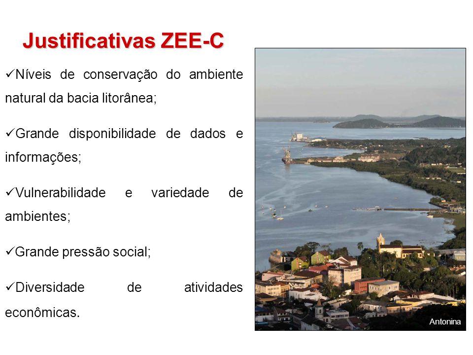 Justificativas ZEE-C Níveis de conservação do ambiente natural da bacia litorânea; Grande disponibilidade de dados e informações; Vulnerabilidade e va