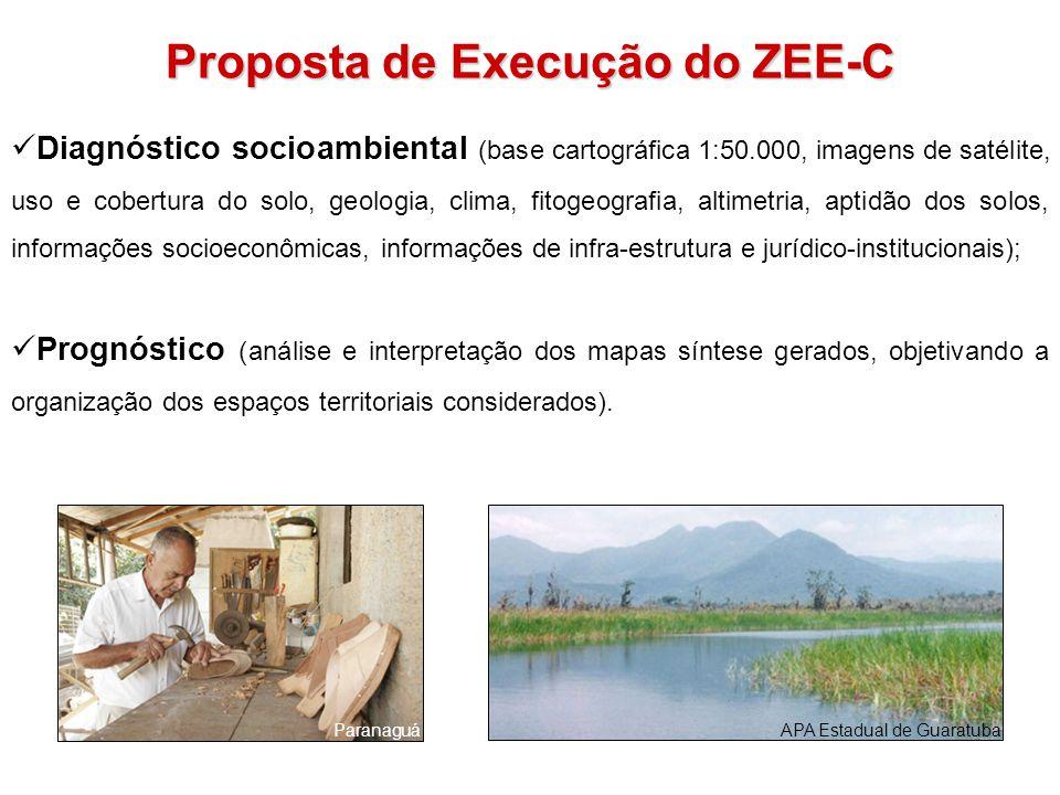 Proposta de Execução do ZEE-C Diagnóstico socioambiental (base cartográfica 1:50.000, imagens de satélite, uso e cobertura do solo, geologia, clima, f