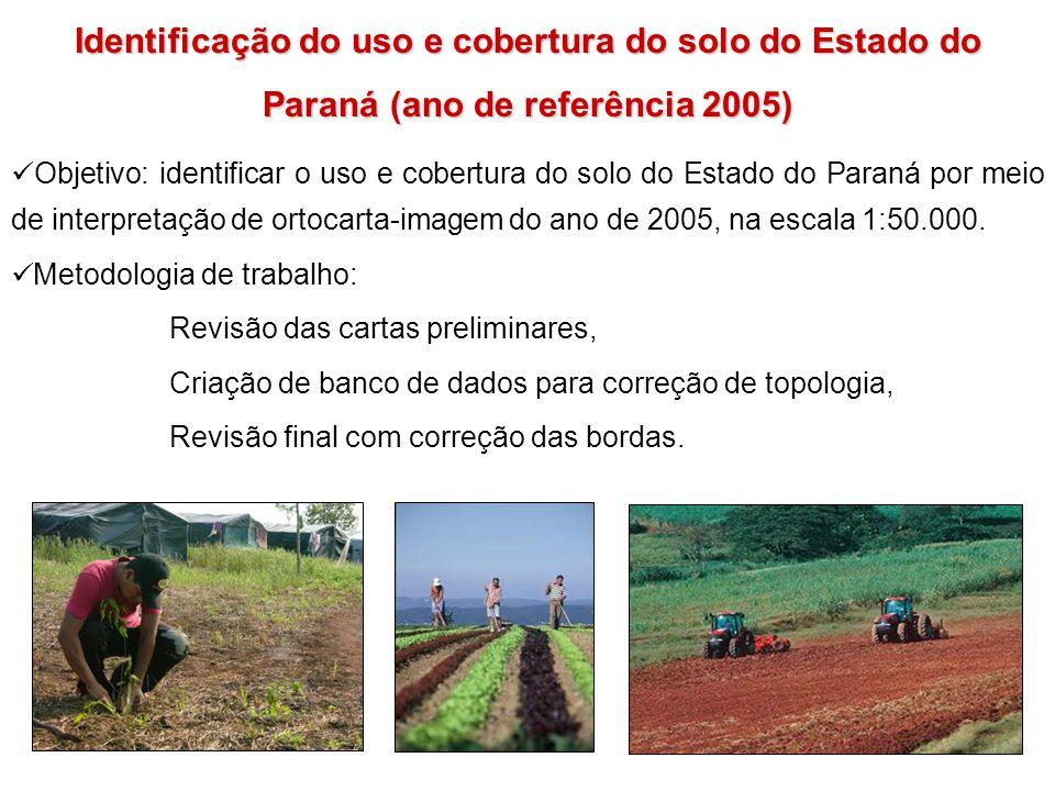 Identificação do uso e cobertura do solo do Estado do Paraná (ano de referência 2005) Objetivo: identificar o uso e cobertura do solo do Estado do Par