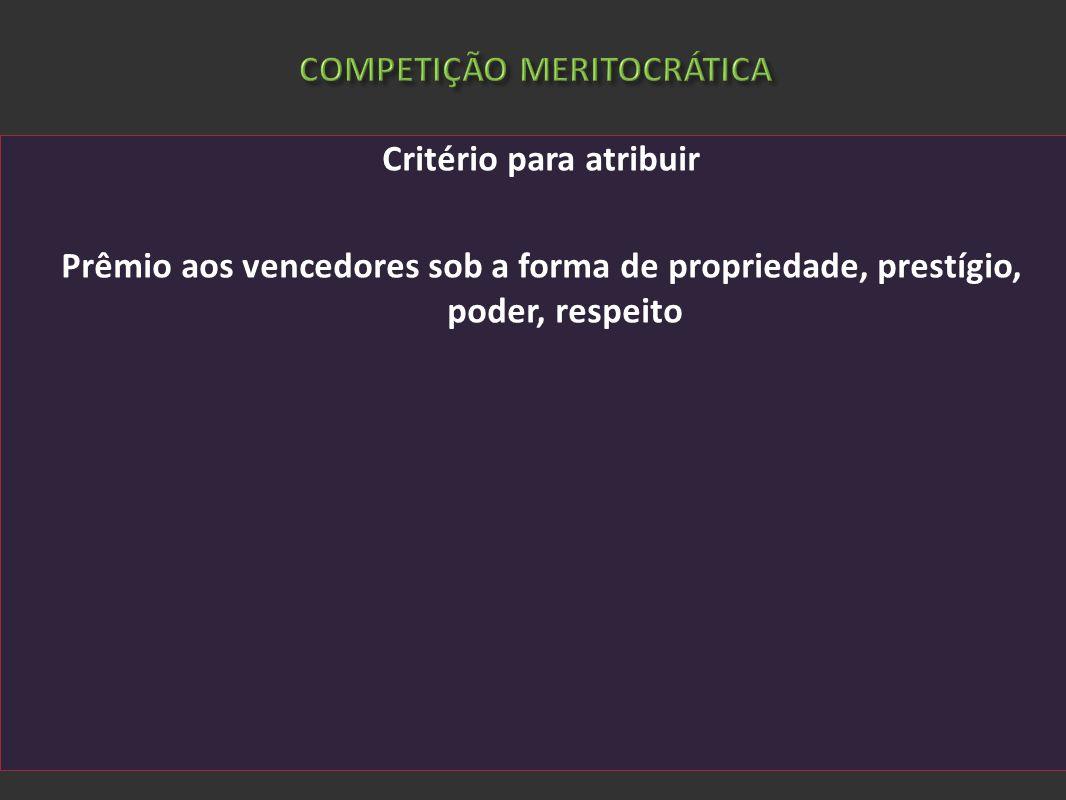 COMPETIÇÃO MERITOCRÁTICA Critério para atribuir Prêmio aos vencedores sob a forma de propriedade, prestígio, poder, respeito