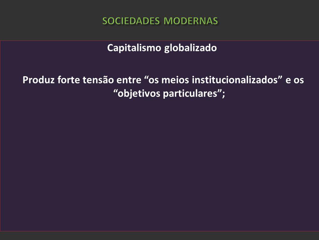 SOCIEDADES MODERNAS Capitalismo globalizado Produz forte tensão entre os meios institucionalizados e os objetivos particulares;