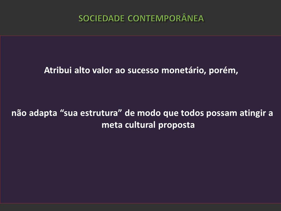 SOCIEDADE CONTEMPORÂNEA Atribui alto valor ao sucesso monetário, porém, não adapta sua estrutura de modo que todos possam atingir a meta cultural prop
