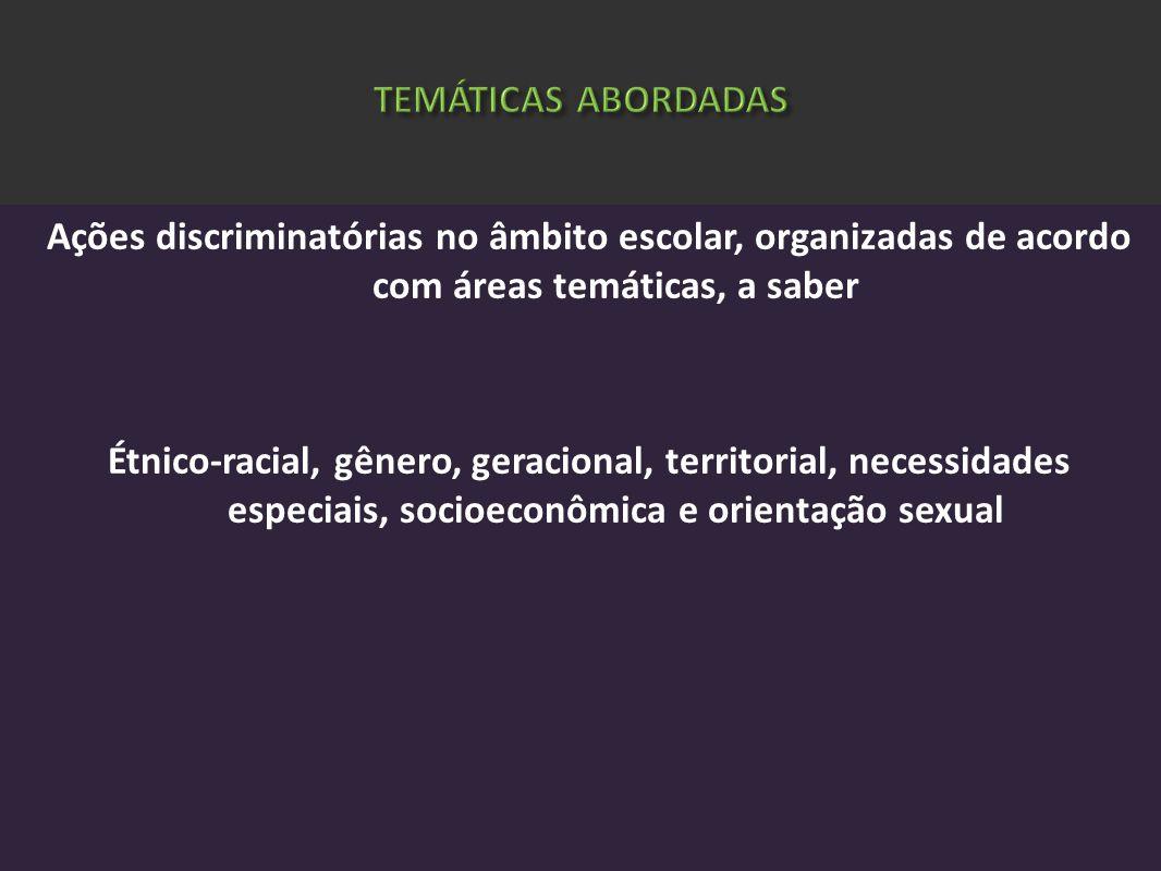 Ações discriminatórias no âmbito escolar, organizadas de acordo com áreas temáticas, a saber Étnico-racial, gênero, geracional, territorial, necessida