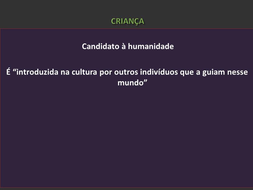 Candidato à humanidade É introduzida na cultura por outros indivíduos que a guiam nesse mundo