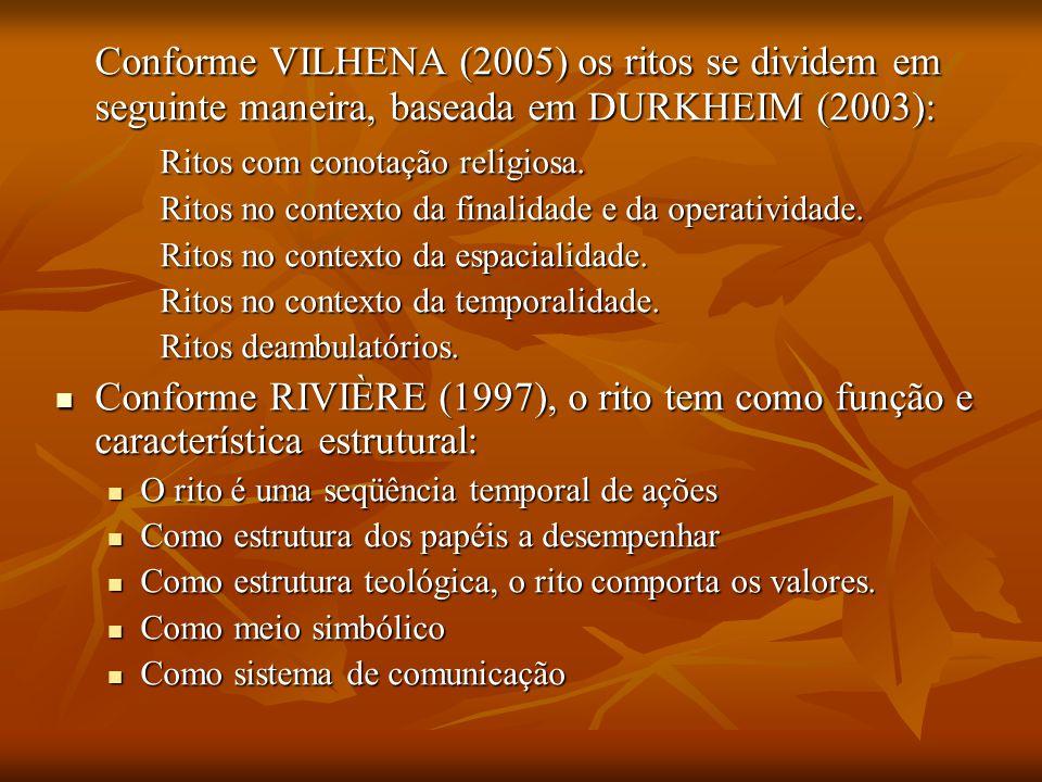 Conforme VILHENA (2005) os ritos se dividem em seguinte maneira, baseada em DURKHEIM (2003): Ritos com conotação religiosa. Ritos no contexto da final