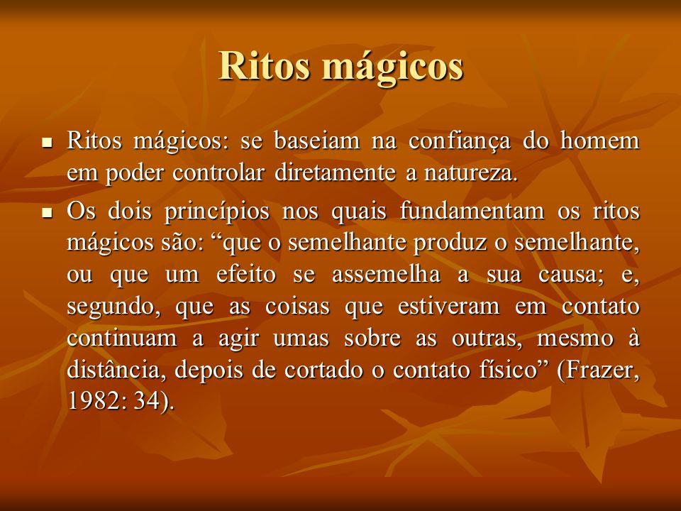 Ritos mágicos Ritos mágicos: se baseiam na confiança do homem em poder controlar diretamente a natureza. Ritos mágicos: se baseiam na confiança do hom