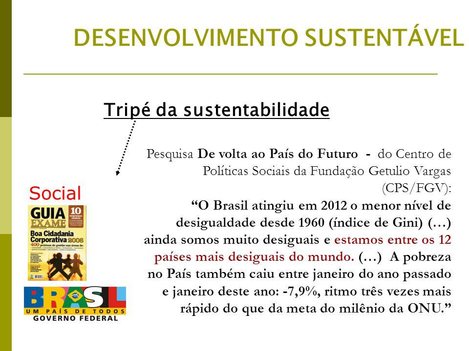 Social DESENVOLVIMENTO SUSTENTÁVEL Tripé da sustentabilidade Pesquisa De volta ao País do Futuro - do Centro de Políticas Sociais da Fundação Getulio Vargas (CPS/FGV): O Brasil atingiu em 2012 o menor nível de desigualdade desde 1960 (índice de Gini) (…) ainda somos muito desiguais e estamos entre os 12 países mais desiguais do mundo.